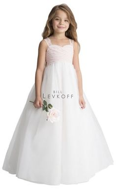 b5fa0f5a28e ... Levkoff 117301 is a long chiffon flower girl s dress with a pleated  bodice and wide corded lace straps and back. Flower girl version of bridesmaid  style