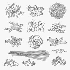 Pasta in hand drawn style #Ad , #affiliate, #style#types#pasta#Pasta