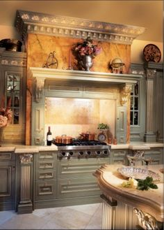 Gorgeous Tuscan Love the marble header over the stove. Tuscan Style Homes, Tuscan House, French Tuscan Decor, Tuscan Home Decorating, Decorating Ideas, Interior Decorating, Decor Ideas, Countryside Decor, Tuscan Bedroom