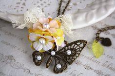 butterfly woodland vintage bronze charm necklace flower bouquet handmade by missvirgouk, $16.00
