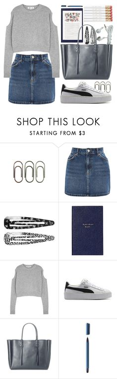 """""""wee bit splash of grey"""" by faradila ❤ liked on Polyvore featuring Clips, Topshop, Monki, Smythson, McQ by Alexander McQueen, Puma, Lanvin and Wacom"""