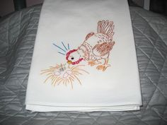 Design 837 Inspecting Eggs -hand embroidered flour sack 30 X 30 inch towel.