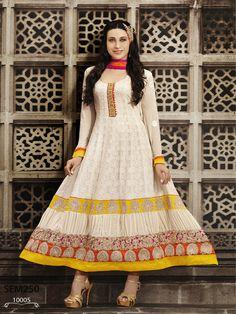 Beautiful #KarishmaKapoor latest designer off white #bollywood style #anarkalisuit buy online with #craftshopsindia