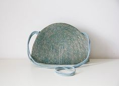 Vintage Italian blue half moon straw bag