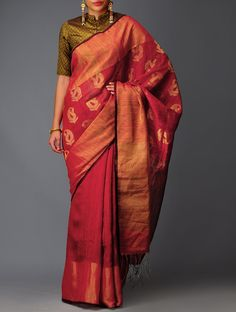 Maroon-Golden Paisley Silk Jamdani Saree #available Online at Jaypore.com…