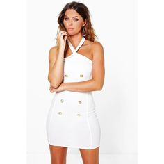 Boohoo Night Brielle Strappy Button Detail Bodycon Dress ($35) ❤ liked on Polyvore featuring dresses and ivory