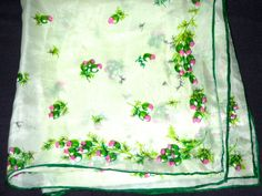 Vintage silk rayon blend hand rolled scarf thistle motif Made in Japan pocket square by sweetalicelovesyou on Etsy