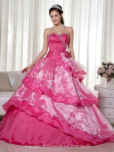 A-Line Ball Gown Princess Strapless Sweetheart Long / Floor-Length Satin Organza Quinceanera Dress front back detail and photogallery