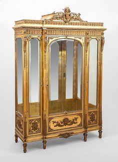 Napoleon III Giltwood Vitrine Cabinet