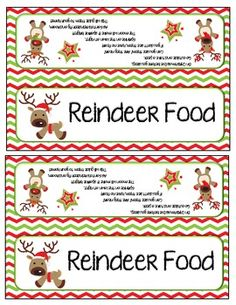 Reindeer food bag toppers and labels.... Cute poem! Great idea for the kindergarten Christmas party!