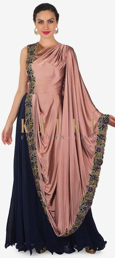 Buy Online from the link below. We ship worldwide (Free Shipping over US$100) Click Anywhere to Tag Navy Blue Mauve Satin and Chiffon Gown Featuring Resham Handwork Only on Kalki The inimitable look of this ravishing gown sets it apart from the rest.The gown features a solid navy blue kali that's accompanied by a mauve satin bodice and drape styled with resham embroidery on floral motifs.