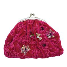 Tamsin Cooper Clematis Velvet Clip Coin Purse (nothing quite as vintage, as clicky purses) :o) Pink Silk, Clematis, Linens, My Heart, Hot Pink, Coins, Coin Purse, Sequins, Velvet
