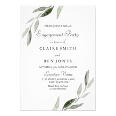 Elegant Watercolor Green Leaf Engagement Party Card - engagement gifts ideas diy special unique personalize