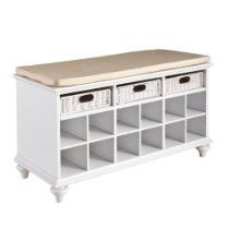 Features: -Includes 3 rattan drawers and 12 shoe storage shelves. -Material: Hardwoods, MDF, veneer and rattan. Pairs of Shoes Capacit White Storage Bench, Entryway Bench Storage, Bench With Shoe Storage, Storage Shelves, Storage Benches, Shoe Shelves, Shoe Organizer Entryway, Diy Bench, Closet Shoe Storage