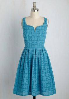The moment you twirl into this cotton dress by Adrianna Papell, you'll want to pivot endlessly around your room. As fun as that sounds, we encourage you to take this bright blue style - starring an eyeleted circle pattern, a pleated waist, and pockets - on the road so others can admire its '50s-inspired fabulousness!