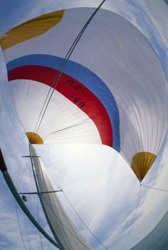 A fisheye view of a spinnaker on a sailboat.