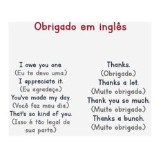 English Tips, English Study, English Words, English Grammar, Teaching English, Learn English, Learn Brazilian Portuguese, Guided Reading Levels, I Thank You