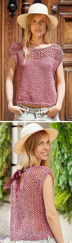Free knitting pattern for Tahiti Spark Sweater - Looks like an easy sleeveless top pattern in stockinette with a mesh lace yoke and back. By Fil Katia. In several languages. tba #free