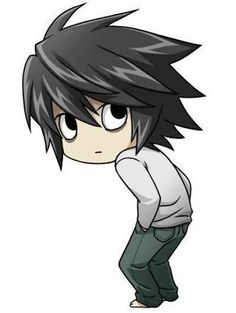 Chibi l death note Source by fabianvey Anime Chibi, L Chibi, Manga Anime, Anime Art, Wallpaper World, L Wallpaper, Death Note Light, L Death Note, Tenten Naruto