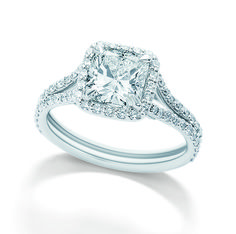 Brinkhaus cushion cut diamond surrounded by diamonds set in a platinum diamond pavé split band. Bridal Jewellery, Gold Jewellery, Jewelry, Cushion Cut Diamonds, Engagement Rings, Band, Unique, Beautiful, Jewellery Making