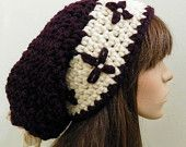 PDF Crochet Pattern - Chunky Drawstring Beanie with Embroidered Band -Womens Hat Crochet Pattern
