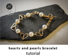 Hearts and pearls bracelet tutorial bridal by HelenaBausJewellery Diy Jewellery, Wire Jewelry, Unique Jewelry, Handmade Jewelry Tutorials, Bracelet Tutorial, Jewelry Patterns, Pearl Bracelet, Diy Wedding, Wedding Jewelry