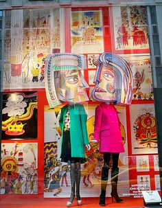 Two Heads: Window display at Bergdorf Goodman Featuring Illustrations by JohnRombola