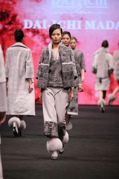 DAI - ICHI MADAM, Fall 2016 The resourcefulness of fur as a fashion material in creating voguish designs is best illustrated in this collection. In the limelight are karakul bolero with cashmere collar teamed with matching high-waist pants for a chic look; sheared mink and cashmere long coat with karakul dress jazzed up by embroideries and sequins offers a feminine option; while voluminous long vest and short coat made from alternate rows of arctic marble fox and cashmere propose a funky…