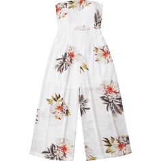 Floral Print Padded Bandeau Cropped Jumpsuit ($18) ❤ liked on Polyvore featuring jumpsuits, floral jumpsuit, flower print romper, white jump suit, white floral jumpsuit and bandeau jumpsuit