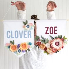Shipped these babes today. Clover went to Ohio, Zoe to Australia. Zoe's banner was a custom based on colors from nursery wallpaper. Cute Crafts, Felt Crafts, Diy And Crafts, Diy For Teens, Diy For Kids, Felt Flowers, Fabric Flowers, Baby Girl Nursery Wallpaper, Felt Banner