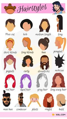Hairstyle Names: Types Of Haircuts With Useful Pictures – 7 E S L Hairstyle Vocabulary in English English Time, English Verbs, English Vocabulary Words, Learn English Words, English Study, English Grammar, Vocabulary List, English Course, English Writing Skills