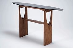 cormorant hall/entry table - black walnut, ebonized tiger maple, blackwood - Eben Blaney Furniture