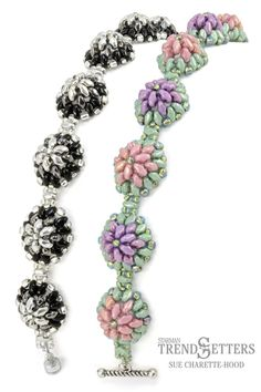 Free Tutorial! MiniDuo Bracelet by Sue Charette-Hood 'Bachelor Buttons'  #Seed #Bead #Tutorials