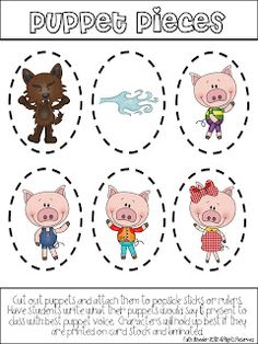 The Three Little Pigs Puppet Pieces: Students use to retell a story.