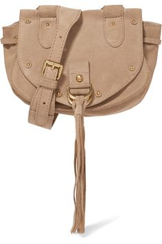 Beige suede and textured-leather (Cow) Magnetic snap-fastening front flap Designer color: Sand Shell Comes with dust bag Imported