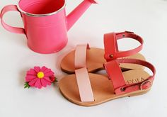 "Kids handcrafted sandals made from genuine blush pink and coral leather. Leather: All of our sandals are custom made and prepared according to your order. We use vegetable tanned leather, which is the true ""chromium-free"" method to tan leather, and does not have harmful chemicals. Our suppliers are located in Greece and Italy. Sole: The upper sole is made from genuine Cretan leather and the lower sole is made of durable, flexible, anti-slippery plastic to be comfortable and long lasting…"