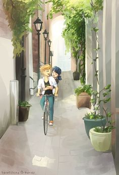 baraschino: backgrounds are not my thing. also neither are bikes. p.s. spot the ladybug and the cat (based off the street Passage Plantin in Paris)
