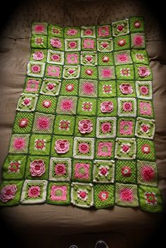 "Inspiration :: Florimond blanket, by druidessenherbe.  Most squares are from ""200 Crochet Blocks"" by J. Eaton.  Pretty layout.   . . . .   ღTrish W ~ http://www.pinterest.com/trishw/  . . . .  #crochet #afghan #throw"