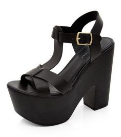 New Look Black T-Bar Platform Block Heels #chunkyheels #covetme