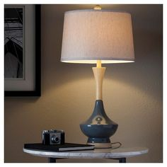 Ceramic Table Lamp With Wood-Style Base - Slate