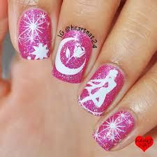 - Base color Glam Polish (Bohemian Rhapsody) stamped using Born Pretty in Mundo de Unas White Glam Nails, Diy Nails, Beauty Nails, Cute Nails, Pretty Nails, Manicure, Diy Nail Designs, Nail Polish Designs, Sailor Moon Nails