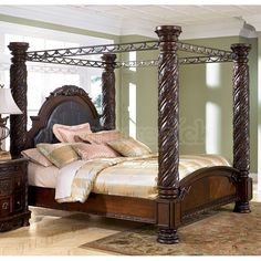 King Poster Canopy Bed Marble Top 5 Piece Bedroom Set Canopy Bedrooms And Marble Top