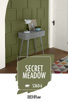 Looking for a little interior design inspiration for your next DIY home makeover project? Start with BEHR® Paint in Secret Meadow. As part of the BEHR® 2020 Color Trends Palette, it's a deep botanical green that beautifully complements this paneled accent wall. Click below for full color details to learn more about this modern hue.