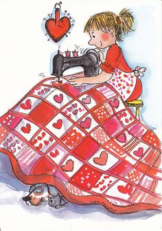 My heart is in my quilting.sew on and sew on till done. Holly Hobbie, Crazy Quilting, Sewing Art, Whimsical Art, Vintage Images, Cute Drawings, Vintage Sewing, Cute Art, Needlework