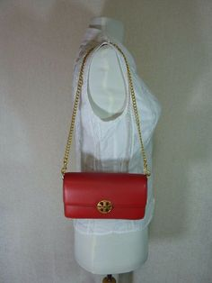 TORY BURCH Chelsea Flap Shoulder Bag Womens Leather NWT Free Gift Classic Tan