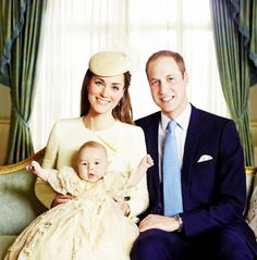 Official Royal Christening Portrait. Katherine, Will, and George.
