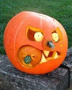 The idea for the Hellouin . Funny pumpkin .