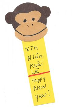 Monkey bookmark craft   Printable template for making the shape monkey at the top  Year of the Monkey: Chinese New Year crafts Site with lots of crafts for kids.
