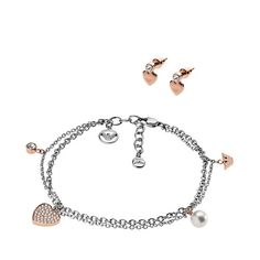 Emporio Armani Stainless Steel And Rose Gold Plated Hearts Bracelet And Earrings Set