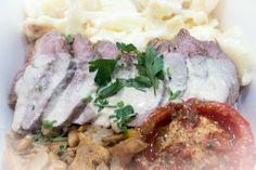 FILET DE CANETTE AUX GIROLLES French Table, Filets, Mashed Potatoes, Ethnic Recipes, Food, Slate, Whipped Potatoes, Smash Potatoes, Essen